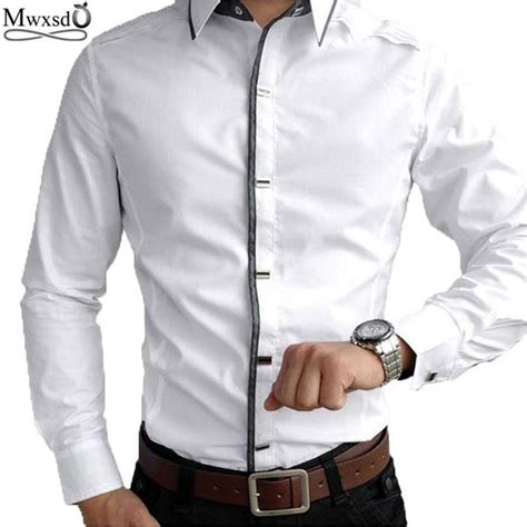 Marcos Black White Kemeja Pria Style Casual Slim Fit rock style slim fit big collar shirt fanfreakz