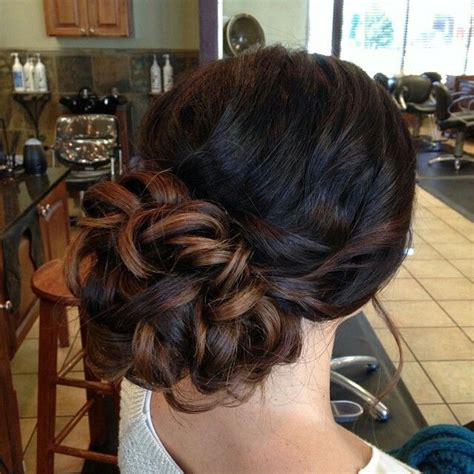 prom hairstyles brown hair loose curls put up in a bun updo sweet 16 pinterest