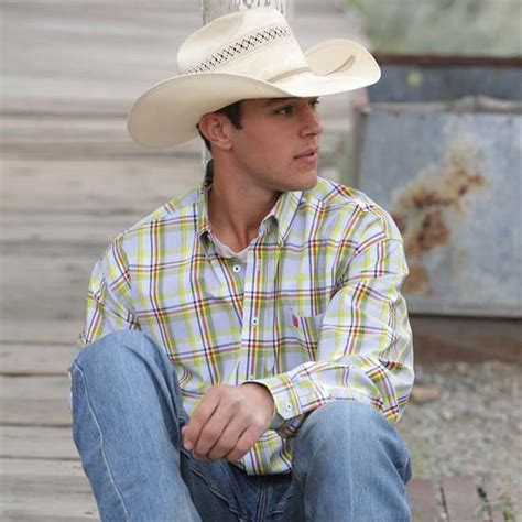 cinch mens white and yellow plaid shirt