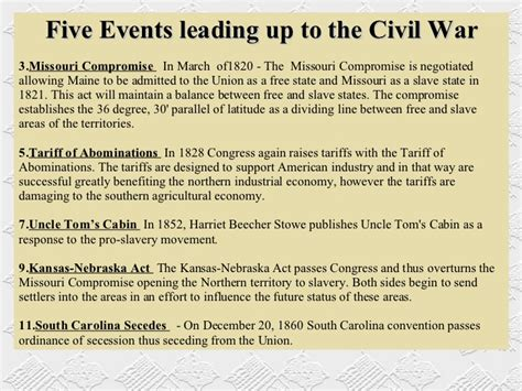 Events That Led Up To The Civil War Essay by Joshs Civil War Presentation