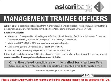 Mba Finance Management Trainee by Askari Bank 2014 November December Apply
