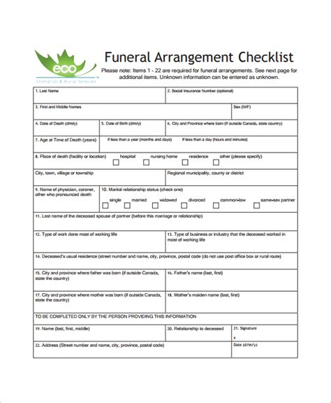 sle funeral checklist template 13 documents in pdf