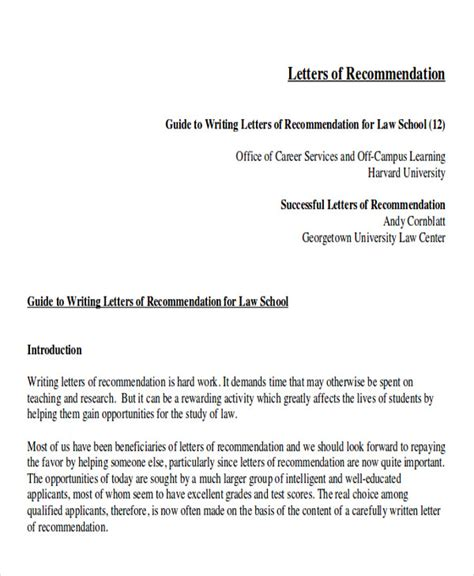 School Letter Of Recommendation From Employer Sle School Letter Of Recommendation 6 Exles In Word Pdf