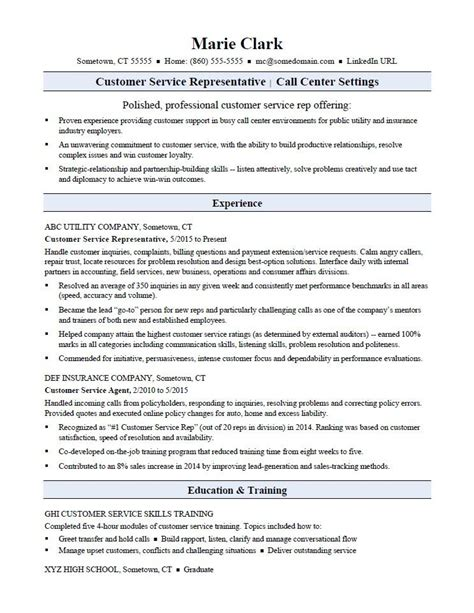 resume customer service exles customer service representative resume sle