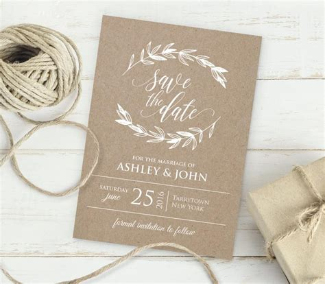 digital save the date template kraft save the date template instant editable