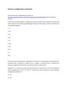electron configuration worksheet