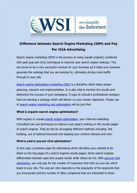 Search Engine Marketing Pay Per Difference Between Search Engine Marketing Sem And Pay Per Click Ad