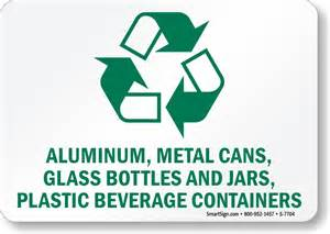 Light Bulb Containers Aluminum Metal Cans Glass Bottles Amp Jars Sign