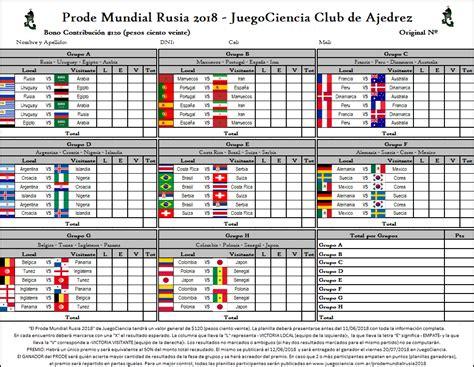 resultados mundial rusia 2018 ya est 193 disponible el prode juegocienciano mundial de