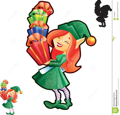 printable elf hands elf girl with full hands of presents royalty free stock