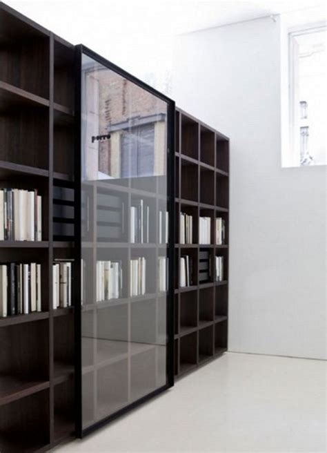 Modern Bookcase With Glass Door Mesmerizing Bookcase Modern Bookcase With Doors