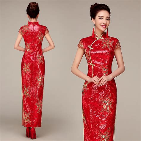 Wedding Qipao by Sequins Fabric Traditional Wedding Qipao