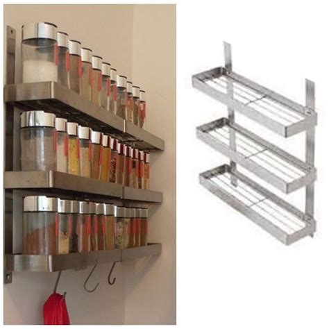 Metal Spice Rack Wall Mount Stainless Steel Kitchen Spice Shelf Rack Kitchen Organizer