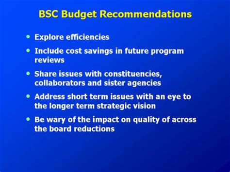 about nchs bsc presentations september 2007 budget update