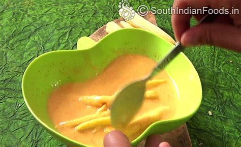 how to make corn batter baby corn pakoda baby corn fritters how to make stepwise pictures
