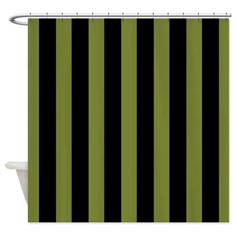 Black And Green Curtains Olive Green Black Striped Shower Curtain By Mainstreethomewares
