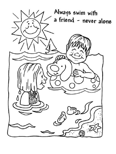Swimming Safety Coloring Pages Free Printable Swimming Safety Colouring Pages