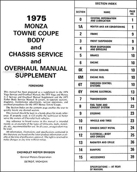 best auto repair manual 1975 chevrolet monza transmission control 1975 monza towne coupe original repair shop manual supplement