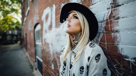 tattoo girl wallpaper free download blonde girl neck tattoo smoke wallpaper
