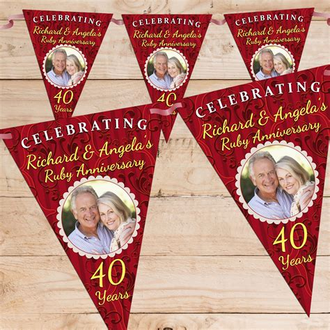 Ruby Wedding Banner by Personalised 40th Wedding Anniversary Banners Mini Bridal
