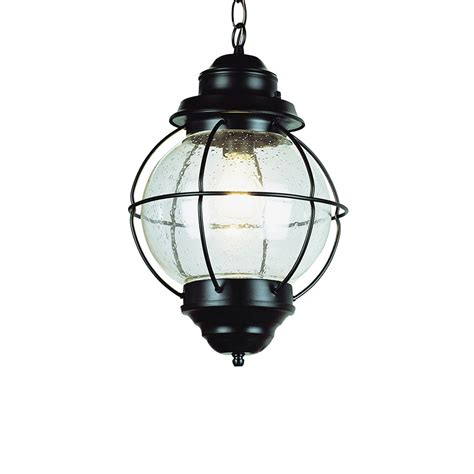 shop bel air lighting 19 in h rubbed bronze outdoor pendant light at lowes Lowes Patio Lighting