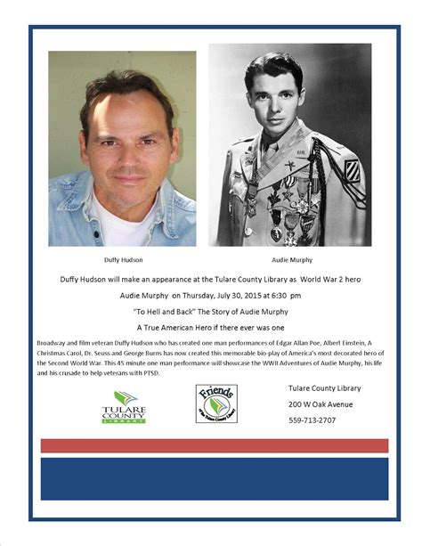 Audie Murphy Story by Tulare County Library News And Events Quot To Hell And Back