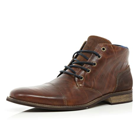 brown chukka boots river island brown lace up chukka boots in brown for