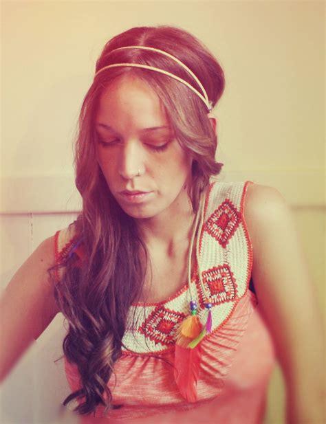 Handmade Headband - handmade leather hippie feather headband tie headband rainbow