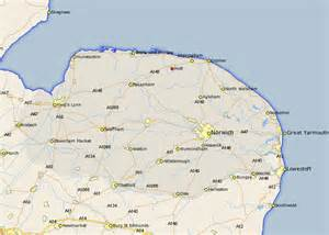 holt map and road maps of norfolk uk