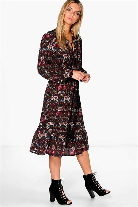 Floral Sleeve Midi Dress ella floral tassel tie sleeve midi dress at boohoo