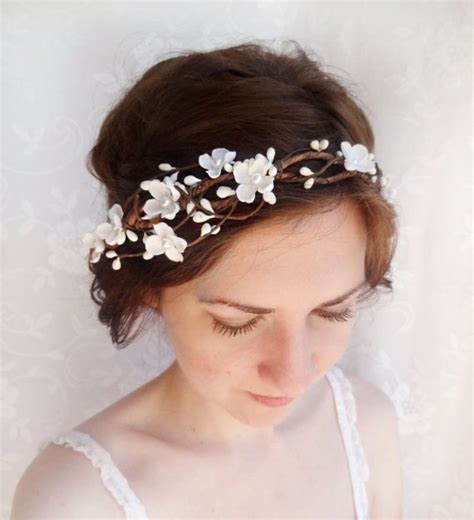Wedding Headpiece White And Gold boho bridal hair crown flower crown woodland wedding white flower crown bridal
