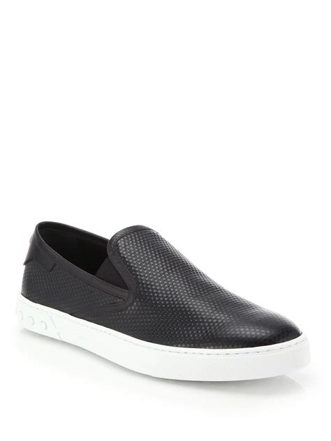black slip on sneakers for tod s textured leather slip on sneakers in black for