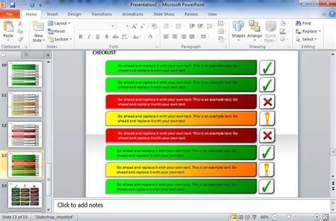 how to create checklist template in powerpoint