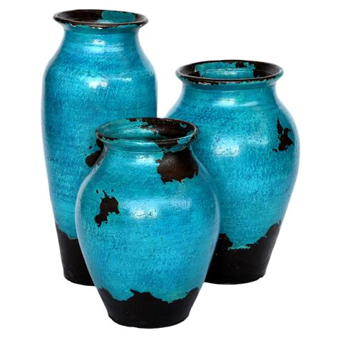 Rustic Kitchen Cabinet Hardware Turquoise Salado Vases Set Of 3