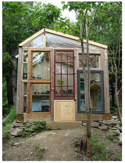 Greenhouse From Salvaged Windows Decor Recycled Greenhouse Garden Pinterest