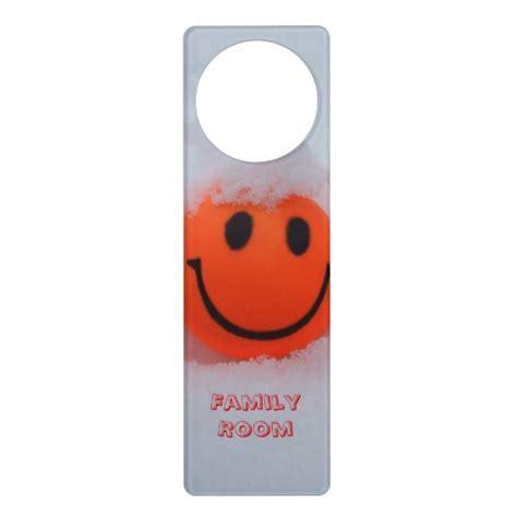 Door Knob Hangers by Smiley Family Room Door Knob Hanger Zazzle
