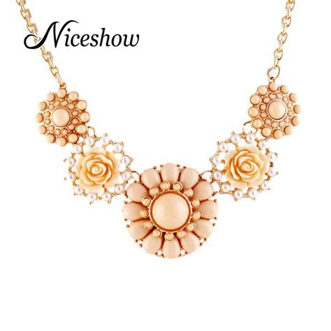 Flower Pearl Necklace Top top selling statement necklace colorful resin and pearl