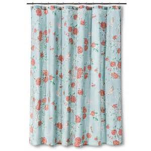 Floral Shower Curtains Threshold Floral And Birds Shower Curtain Blue Target