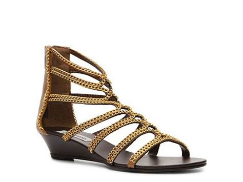 gold sandals dsw steve madden zipee gladiator wedge sandal dsw