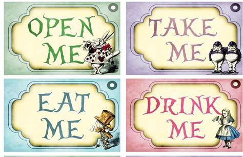 eat me drink me alice in wonderland labels