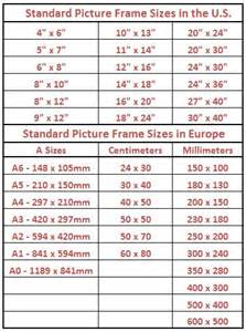 length of standard standard picture frame sizes