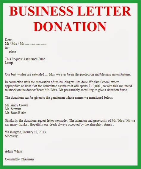 Donation Letter Giving Money Business Letter Business Letter Donation