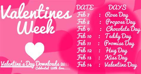 week list 2018 valentines day week list 2018 dates schedule timetable