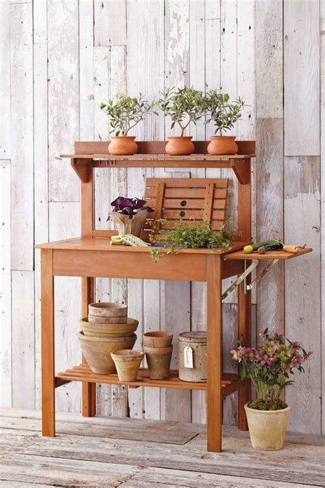 small potting bench great fixes for small outdoor spaces