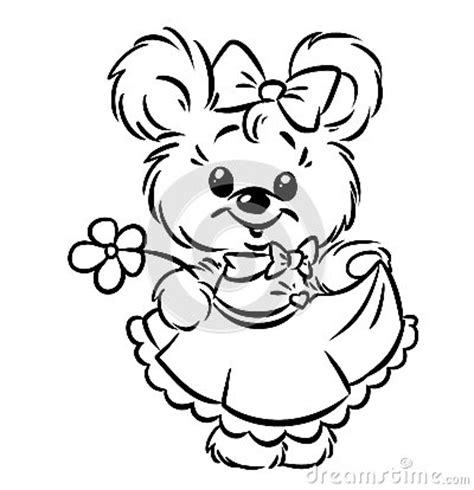 teddy bear with flower coloring page bear girl flower coloring pages royalty free stock images