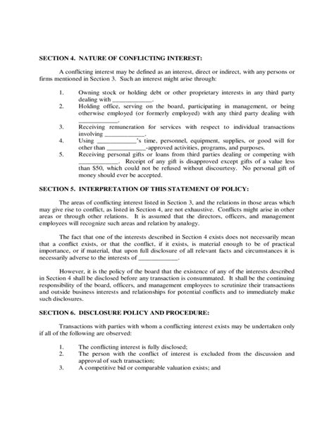 conflict of interest policy template conflict of interest policy sle free