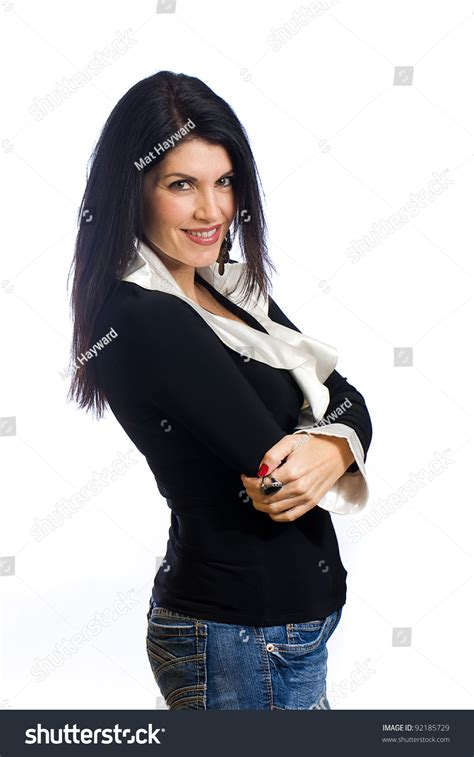 dark hair on middle aged women a beautiful middle aged woman with black hair stock photo