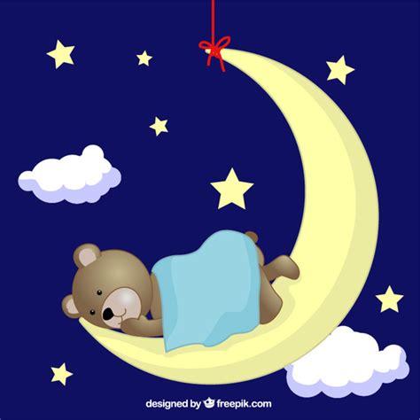 Kaos Bunny Sleep On Moon teddy sleeping on moon vector free