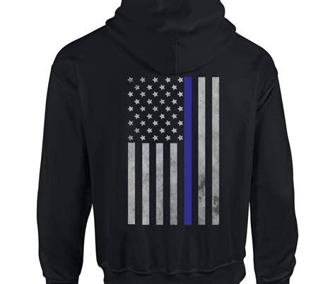 Hoodie Flag Drops Black thin blue line vertical flag hoodie blotter