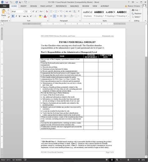 product recall plan template fsms food recall checklist template